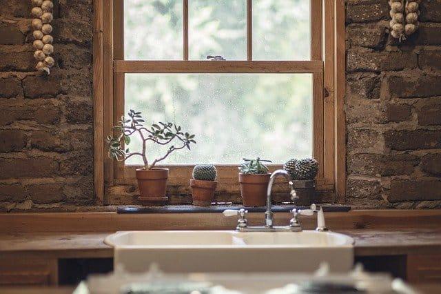 חלון עם עציצים
